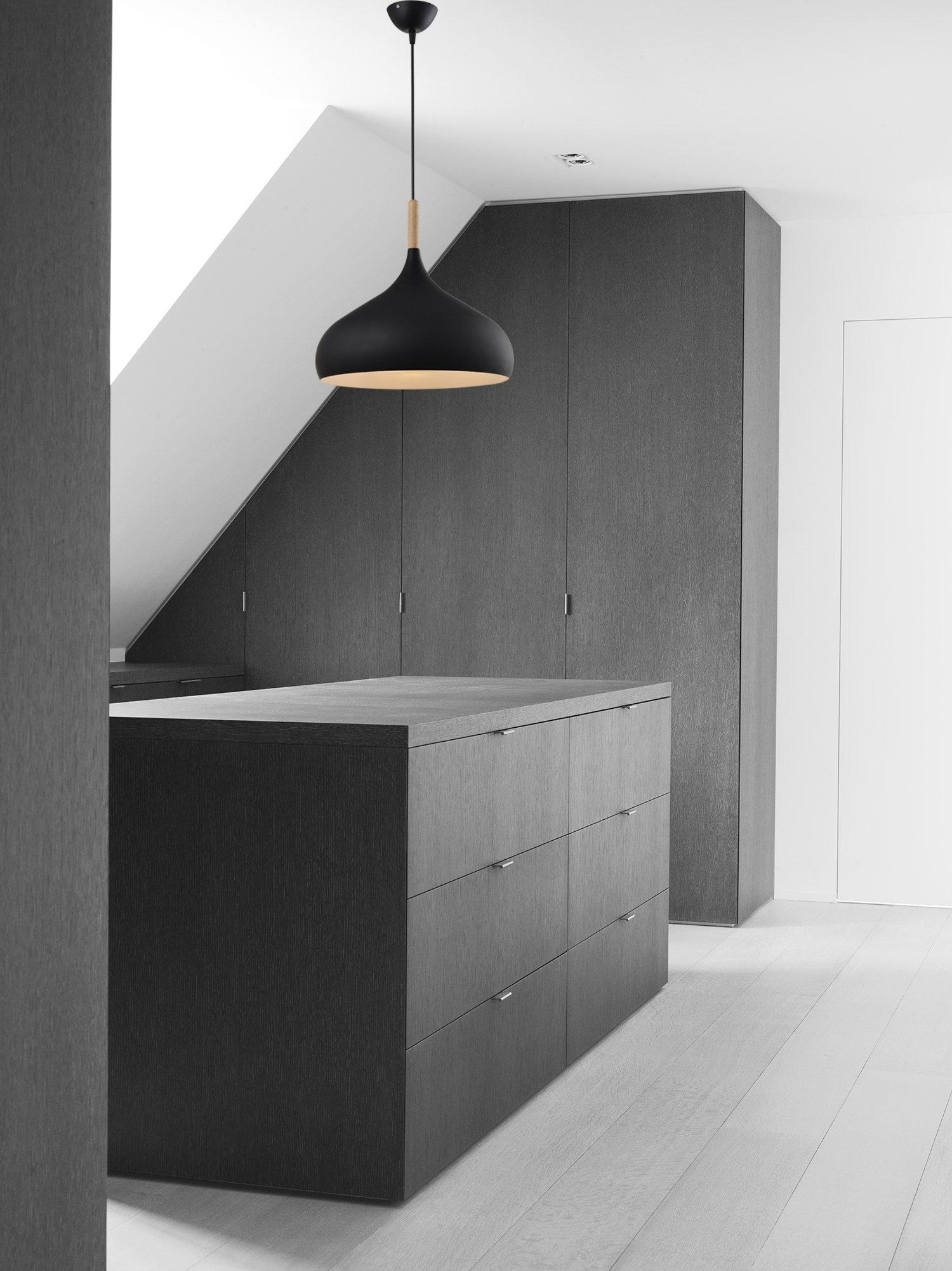 Modern Wood Black Metal Pendant Lighting - Battaa CLV8076-M (2018 New Design) Industrial Chandelier Fixture Ceiling Shade Onion Aluminum Retro Loft Lamp For the Dining Room Bar Cafe 2-Year Warranty