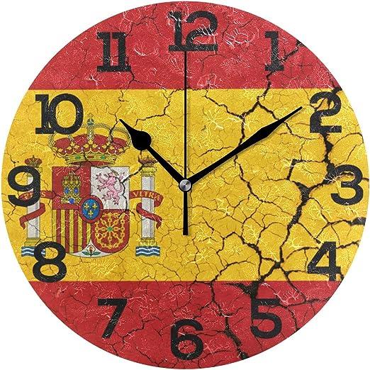 Bonie - Reloj de Pared con diseño de la Bandera de España (acrílico, 25,4 cm): Amazon.es: Hogar