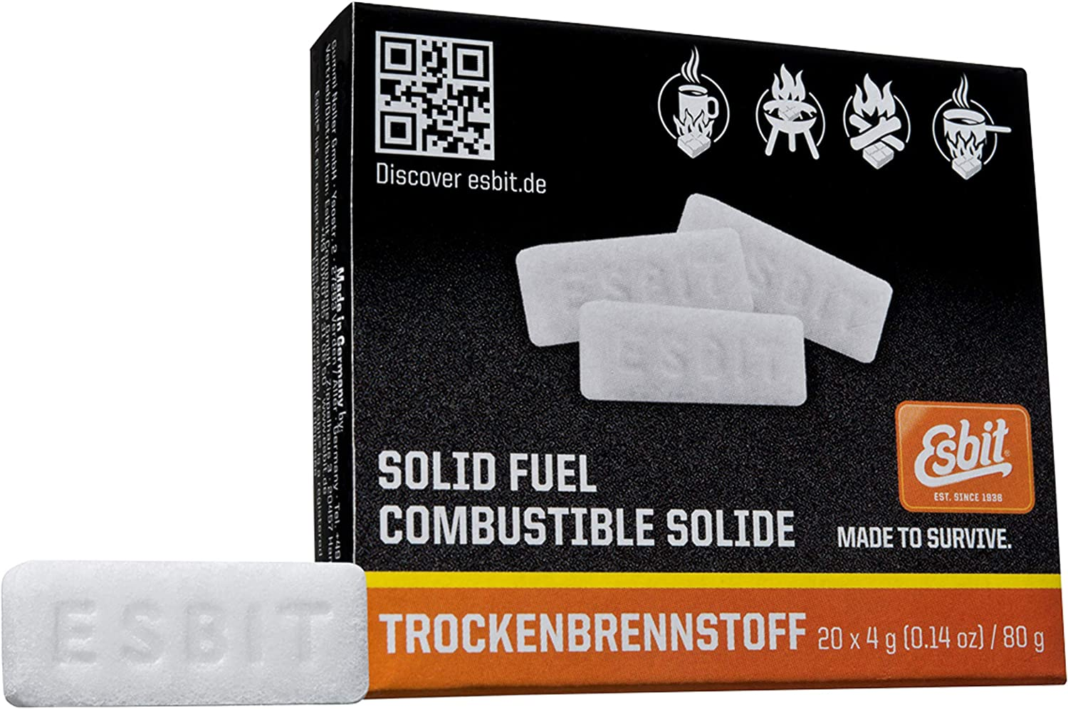 Esbit 1300-Degree Smokeless Solid Fuel Tablets for Hobby, Outdoor, and Emergency Use, 20 Pieces Each 4g