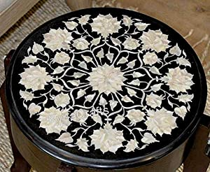 13 x 13 Inches White Mother of Pearl Inlaid Coffee Table Top Round Black Marble Side Table Top from India
