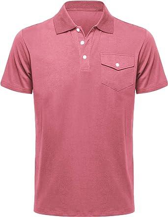 Musen Men Polo Shirts Classic Shirts Short Sleeve Sport T-Shirts Cotton Tops Golf Polos Salmon XXX-Large