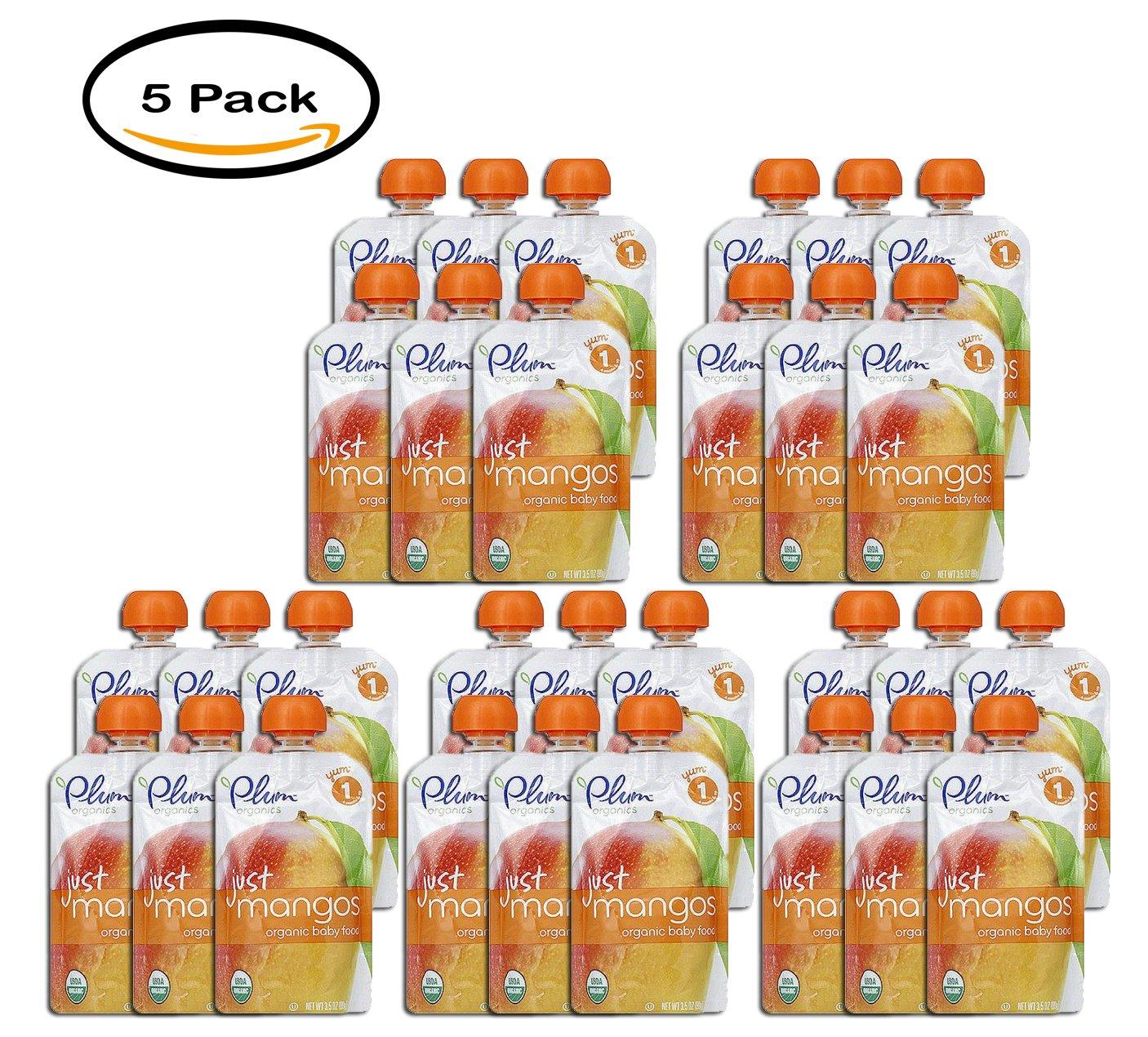 PACK OF 5 - Plum Organics Just Mangos Organic Baby Food, 3.5 oz, (6 count)