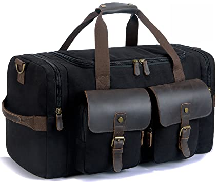 af9e69c33c SUVOM Canvas Holdall Weekend Bag Overnight Bag Leather Travel Duffle Bag  Carry On Luggage  Amazon.co.uk  Luggage