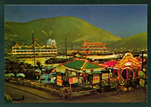 Night View of The Floating Restaurants in Aberdeen Hong Kong China Seafood Vintage Postcard