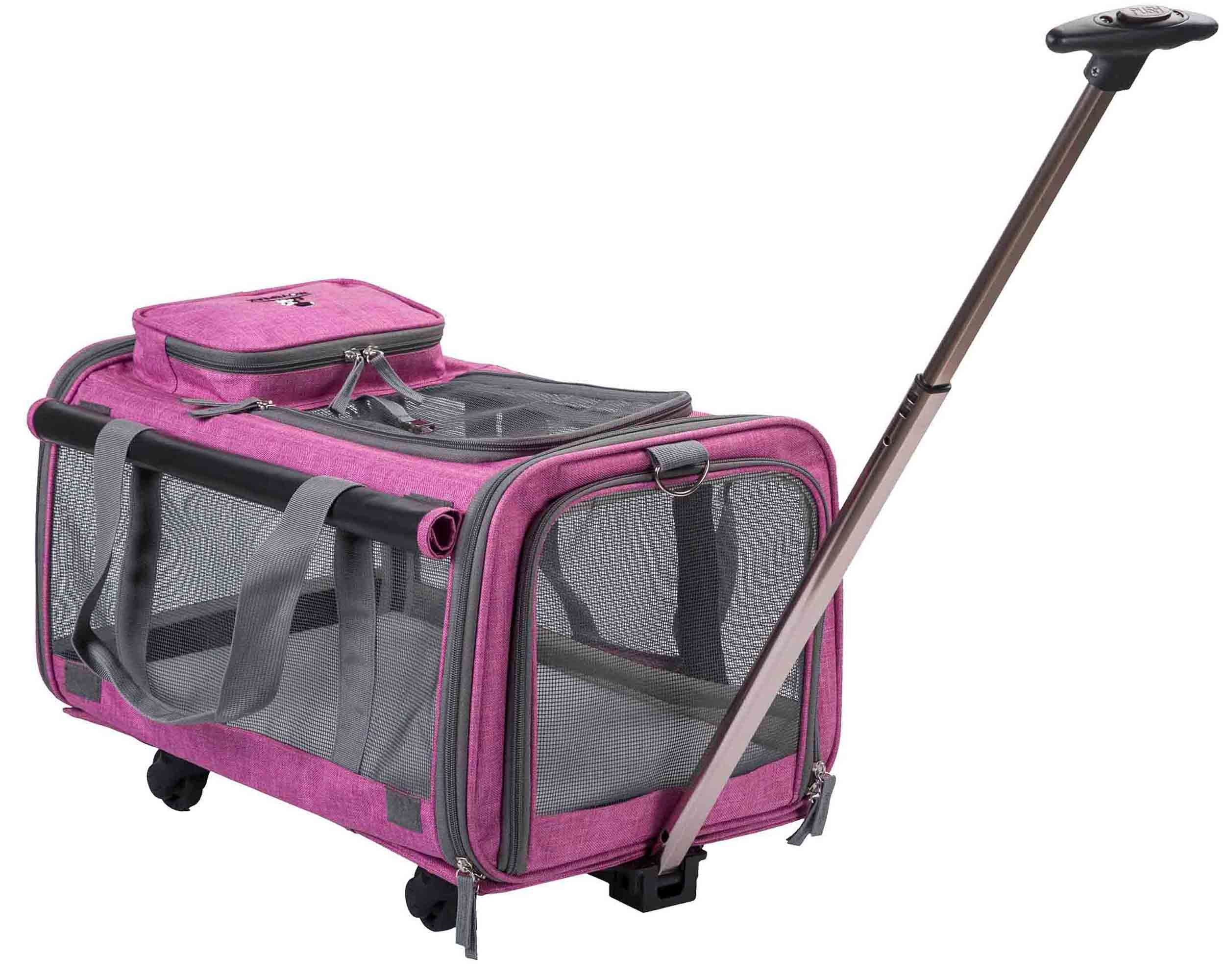 MOVEPEAK Folding Pets Carrier With Wheel, Luxury Pet Bag Strollers With Comfortable Fleece Mat For Travel, Hiking,Camping, Designed for Cats, Dogs, Kittens, Puppies, 360° Swivel Mute Wheels (Rose Red)