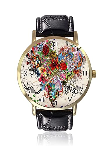 Tattoo Reloj de Pulsera de Cuarzo para Mujer, Unisex, de Piel, Estilo Casual: Amazon.es: Relojes