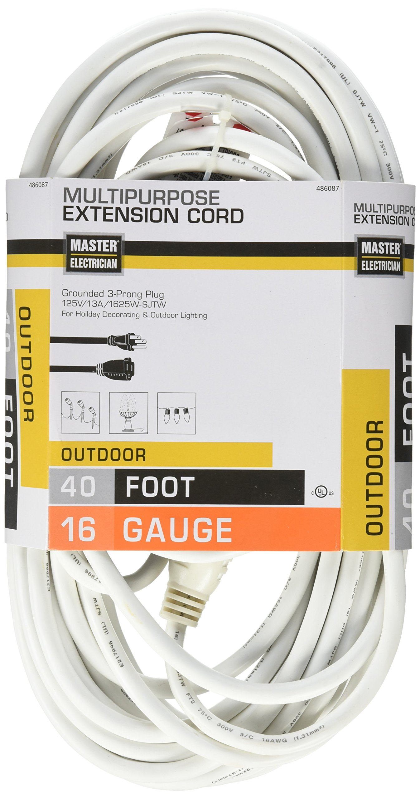 Master Electrician 02356-01ME 40-Feet Round Vinyl Outdoor Extension Cord, White
