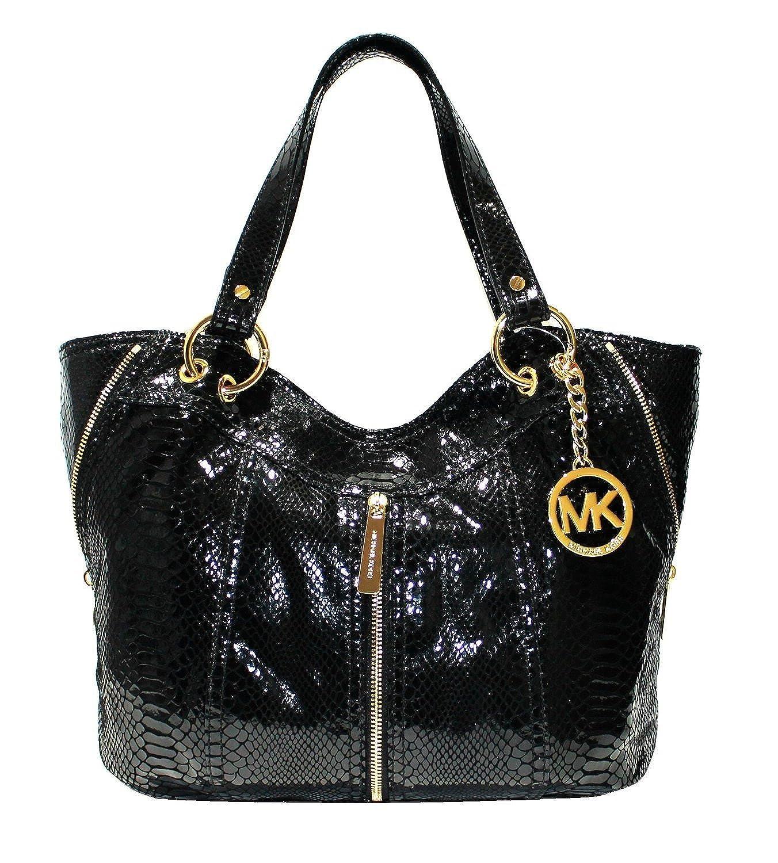 25d53a2391b674 Michael Kors Moxley Medium Shoulder Leather Tote (Black Python): Amazon.co.uk:  Clothing