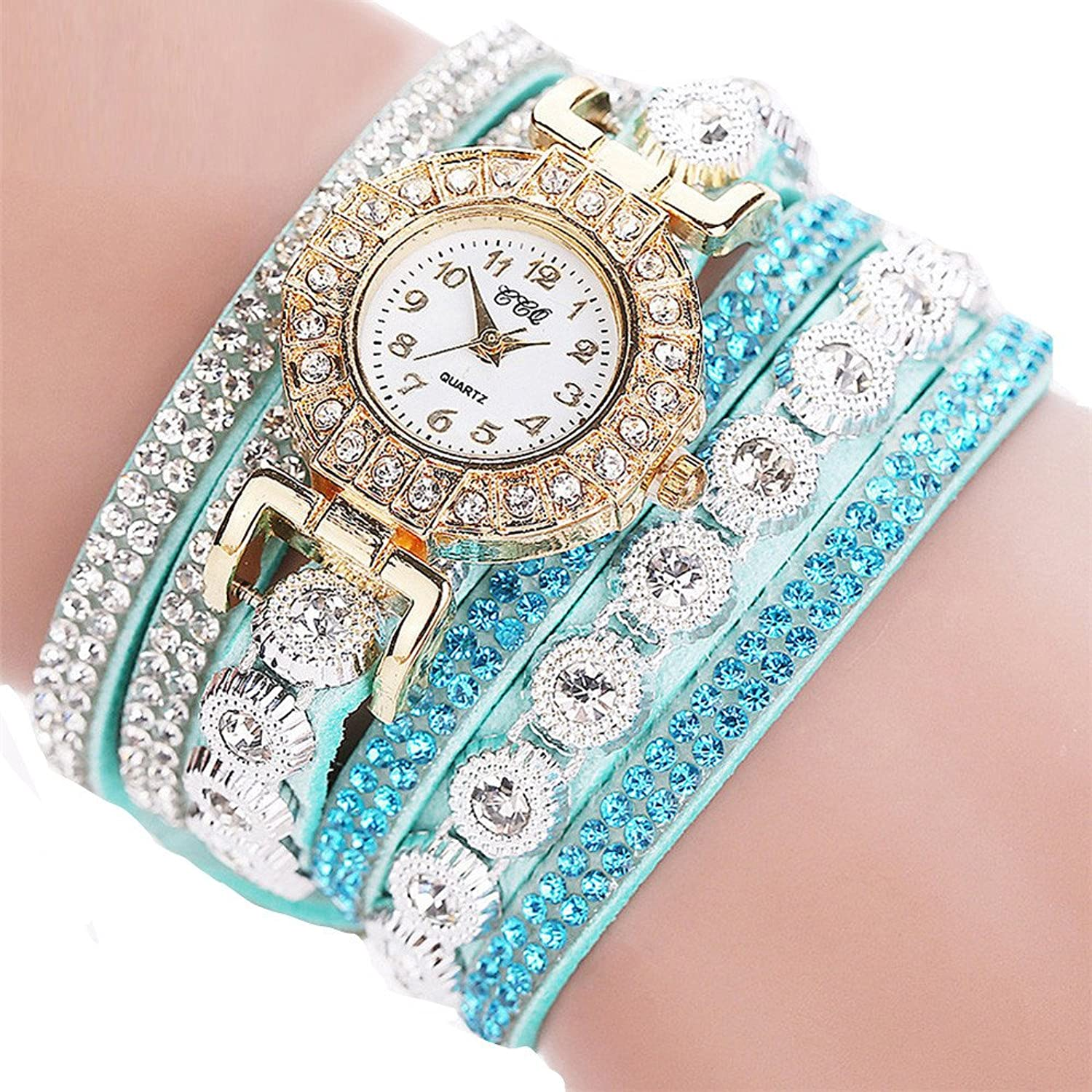 Rhinestone Bracelet Watch,COOKI Analog Fashion Clearance Lady Watches Female watches on Sale Casual Wrist Watches for Women,Round Dial Case Comfortable PU Leather Watch-H14