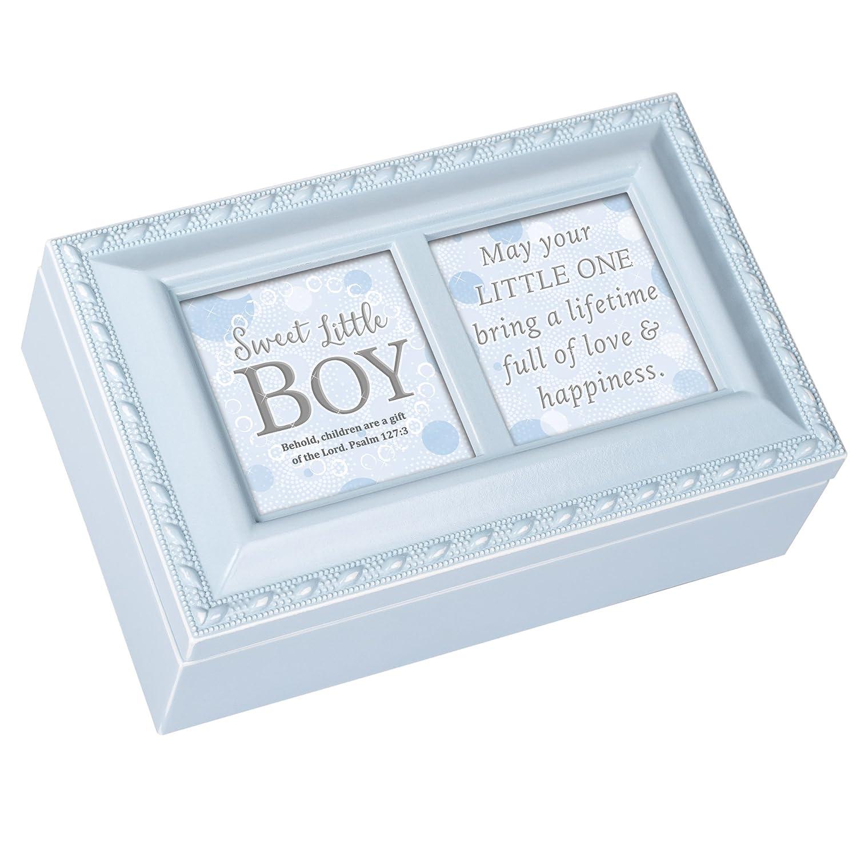 Cottage Garden Sweet Boy Little One Bring Love Matte Blue Jewelry Music Box Plays Jesus Loves Me