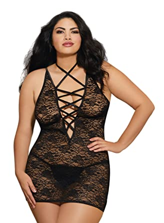 b8a4e233bfa Amazon.com  Dreamgirl Women s Plus Size Lace-Up Chemise with Matching G- String