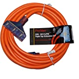 ProStar 25 Foot 10 Gauge SJTW 3 Conductor Triple Tap Extension Cord With Lighted Ends - Orange