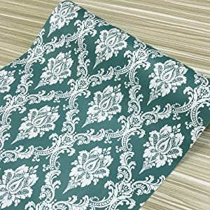 Yifely Silver Damask Furniture Protective Paper Decorative Shelf Drawer Liner Self-Adhesive Storage Makeup Locker Decor 17.7 Inch by 13 Feet