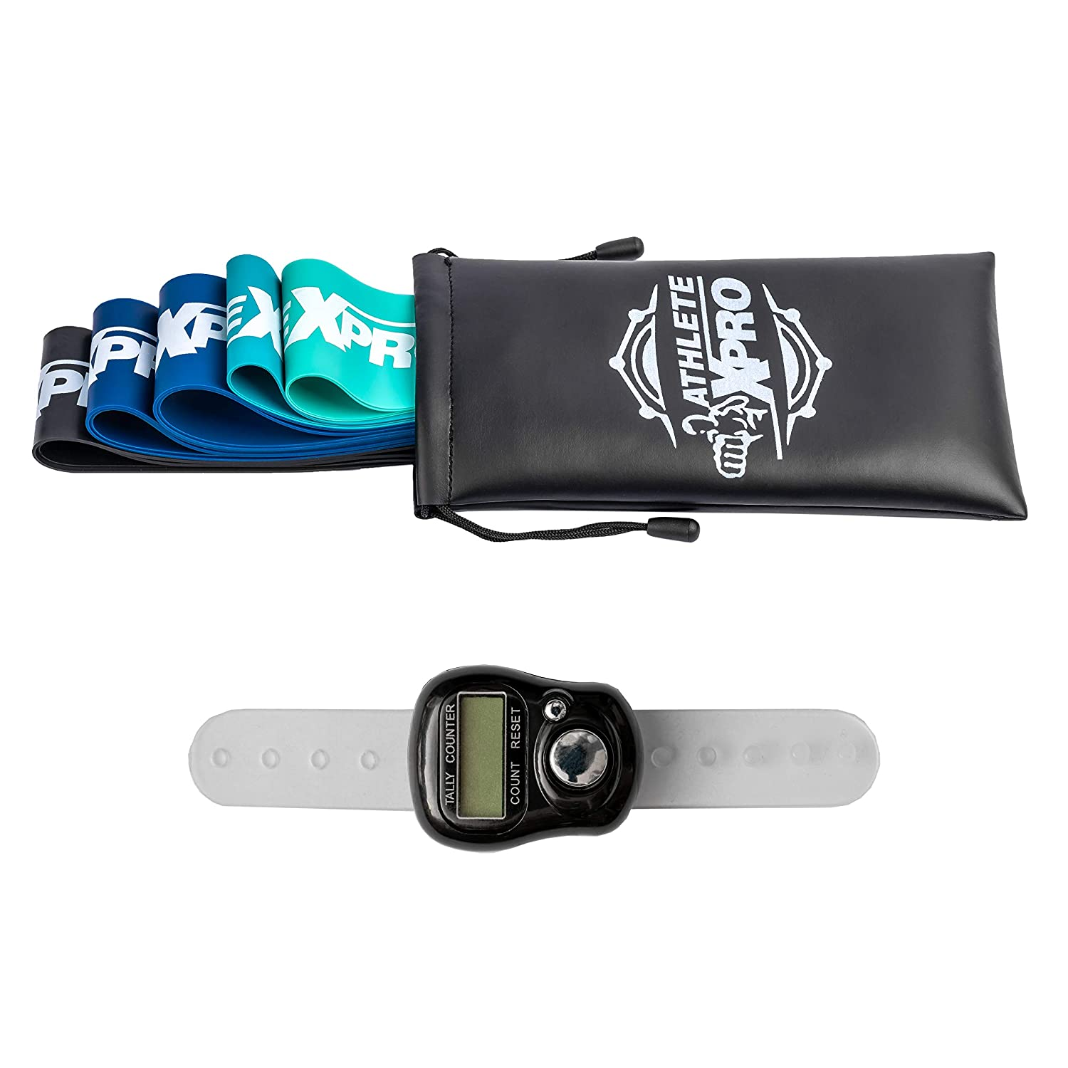 Body Exercises Workout Booklet /& Leather Bag Helps To Strengthen /& Tone Your Muscles For Fitness Training Physiotherapy /& Rehabilitation ATHLETE X PRO Resistance Bands Includes Rep Counter