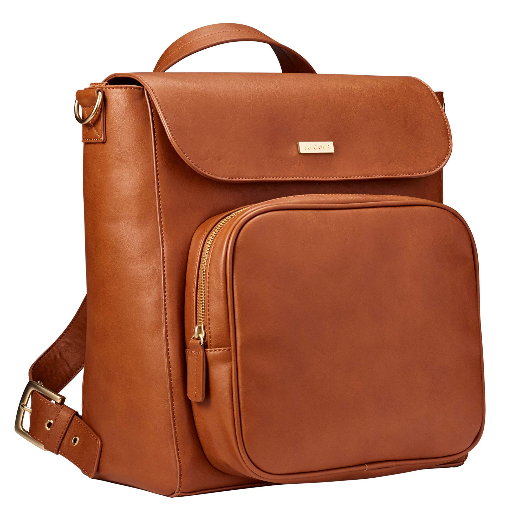 JJ Cole - Brookmont Diaper Bag, Gender Neutral Large Capacity Backpack and Tote for Baby Supplies with Stroller Clips and Changing Pad, Cognac