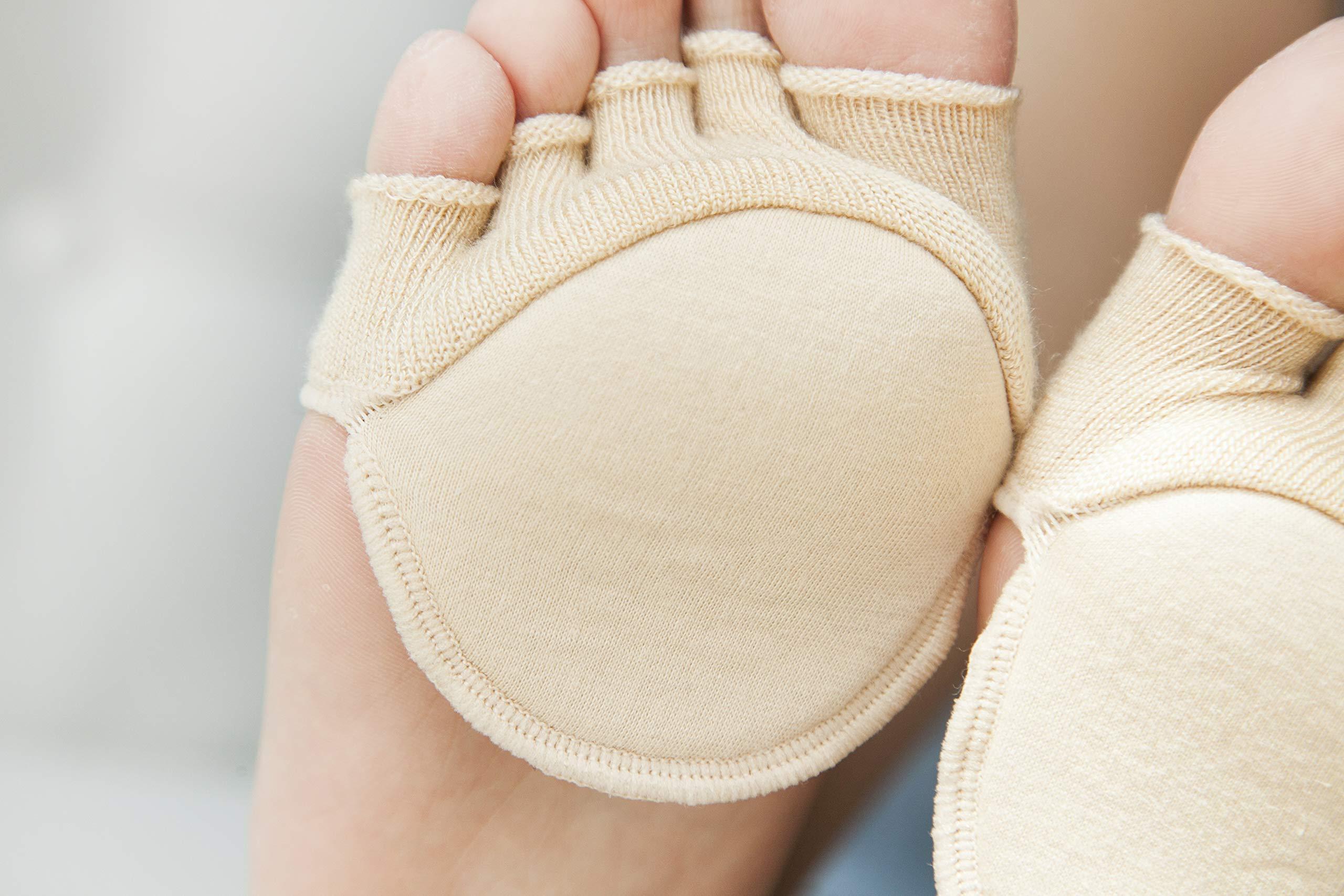 Toe Socks, Cotton Non-Slip Women's Toe Toppers Socks Toe Separating Socks No-Show Half Socks Barre Pilates Yoga Half Palm Socks(2 Pairs) by Pnrskter (Image #6)