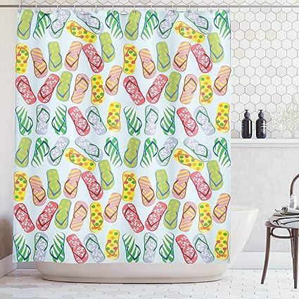 Tropical Beach Colorful Flip-Flop Shower Curtain Hawaiian Flowers Dots Decor
