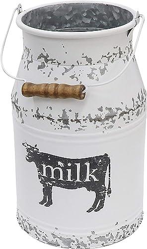 Fovasen Metal Big Cow Galvanized Milk Can with Wooden Handle, Rustic White Farmhouse Vase Planter, Primitive Decorative Flower Holder for Home Wedding Table Centerpiece Decor Large – 11