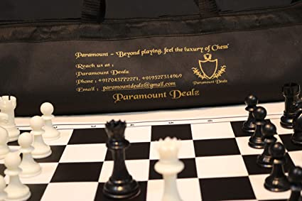Paramount Dealz 20x 20 Professional Vinyl Chess Set (Fide Standards) with 2 Extra Queens/Chess Bag, Black
