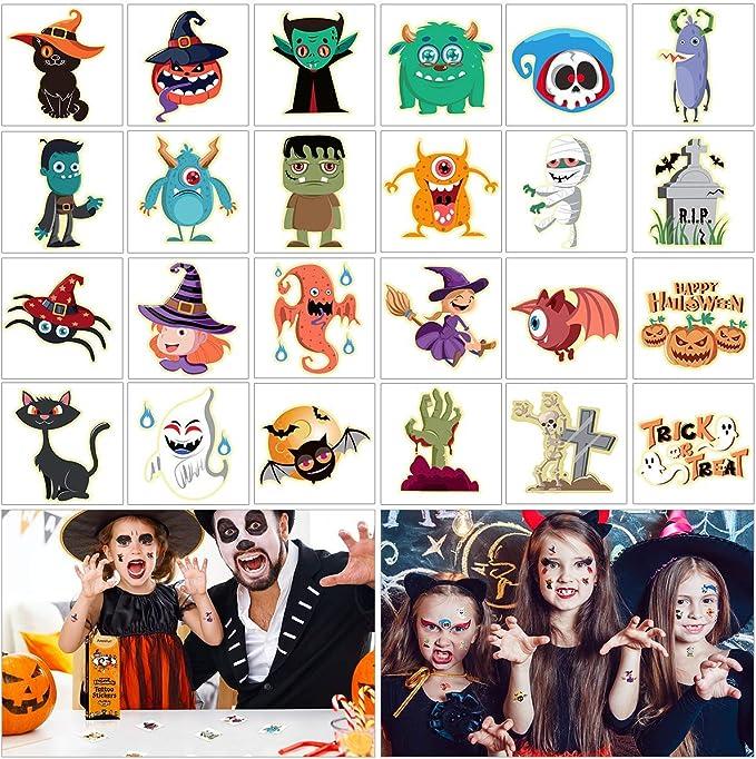 Amazon.com: Amosfun - Tatuajes de Halloween para niños, 144 ...