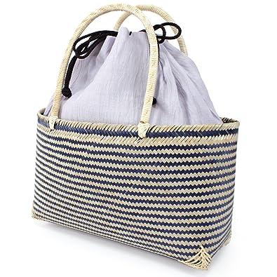 cff66532c6a8ff きもの京小町 かご バッグ 単品 レディース おしゃれ 竹 編み ネイビー かご 薄紫 巾着