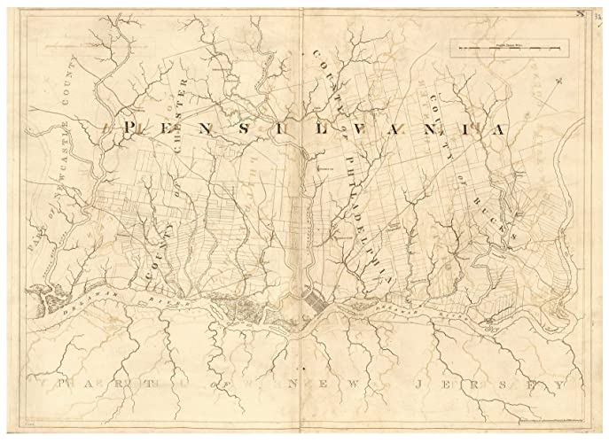 Amazon.com: Pennsylvania - Delaware River 1777 Map - Revolutionary on