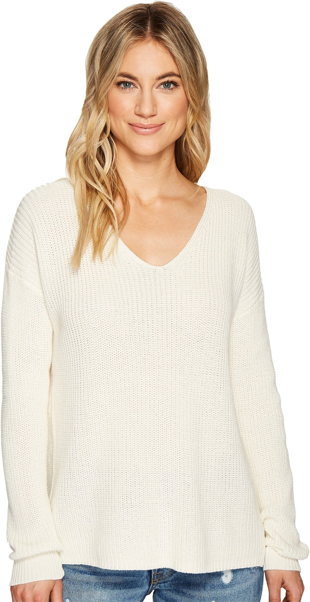Michael Stars Women's Cotton Knit Long Sleeve V-Neck Pullover Chalk Medium