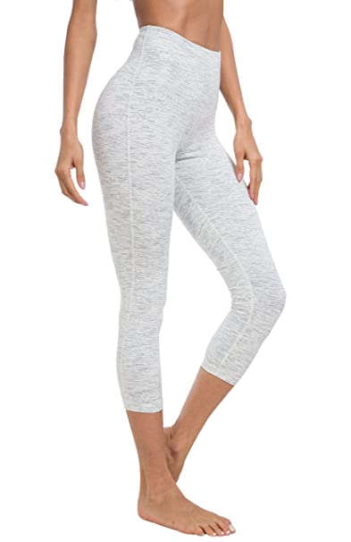5409a727ad Queenie Ke Women 22-inch Yoga Capris Power Flex Height Waist Running Pants  Workout Tights Legging Size XS Color Space Dye White: Amazon.co.uk: Clothing