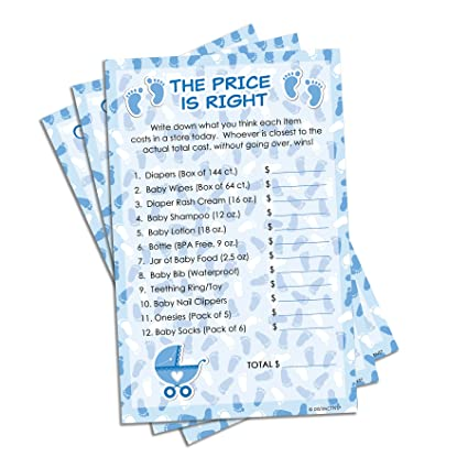 Blue Boy Baby Shower Game   The Price Is Right (Set Of 20)