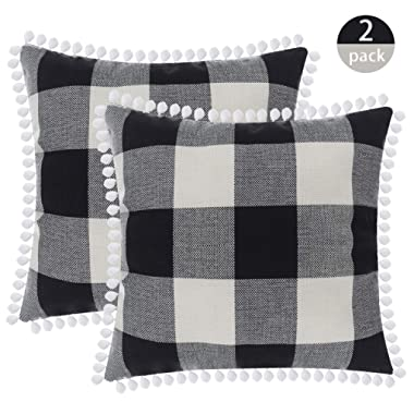 SEEKSEE Buffalo Plaid Throw Pillow Covers Burlap Country Decoration Checkers Large Plaid Cotton Linen Decorative Pillowcase Retro Cushion Sofa Living Room 18x18 in,Set of 2 (Hairball-Gray)