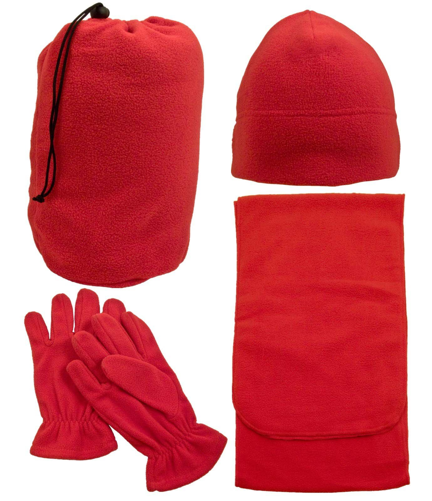Men & Women's 3 Piece Winter Set - Beanie Hat, Scarf, & Gloves , Red