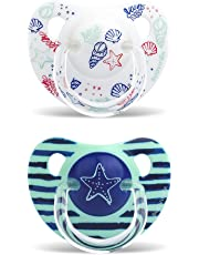 Suavinex In The Sea - Pack de 2 chupetes, 6-18 meses, tetina de silicona, color azul y blanco