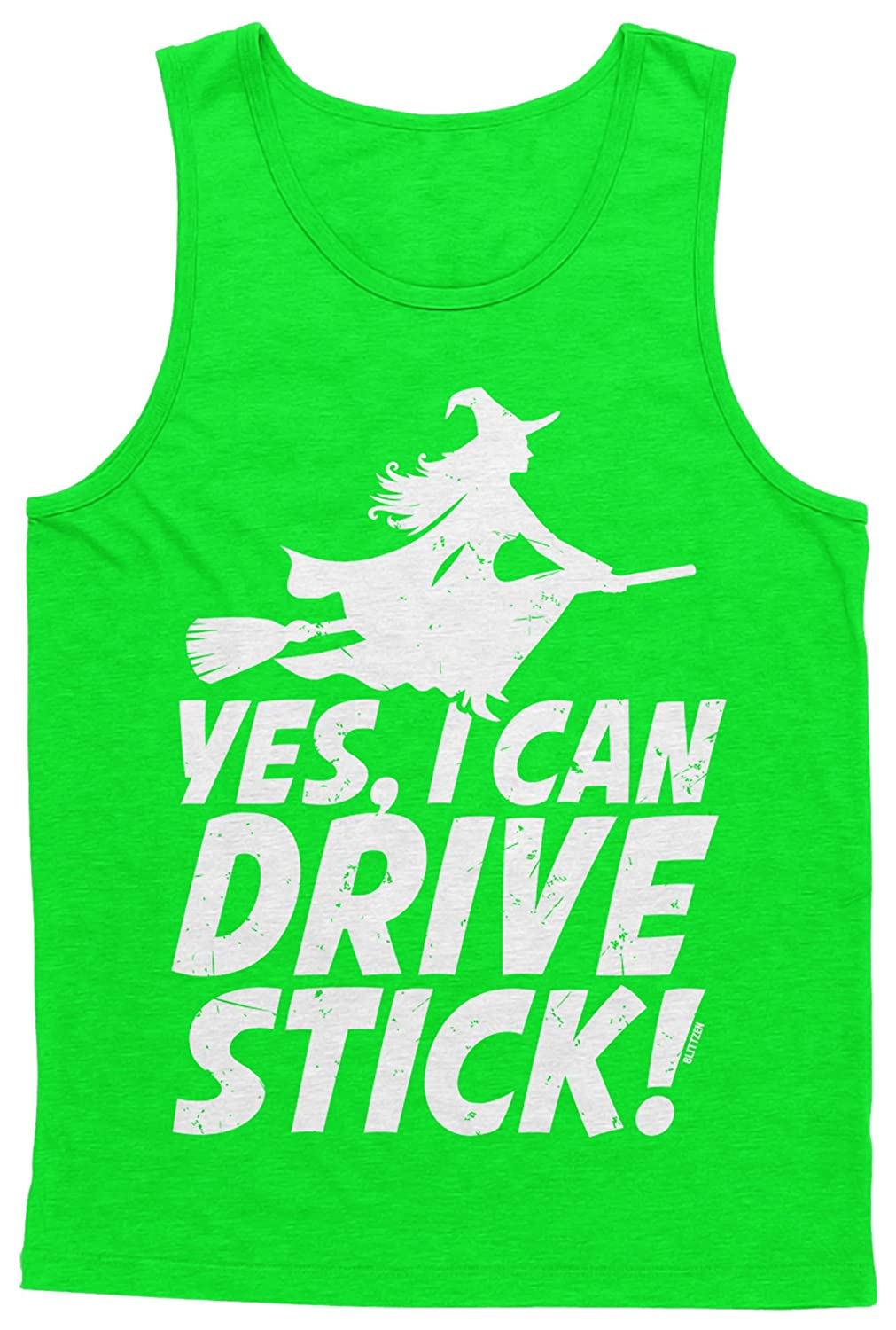 Blittzen Mens Tank Top Yes I Can Drive Stick Witch