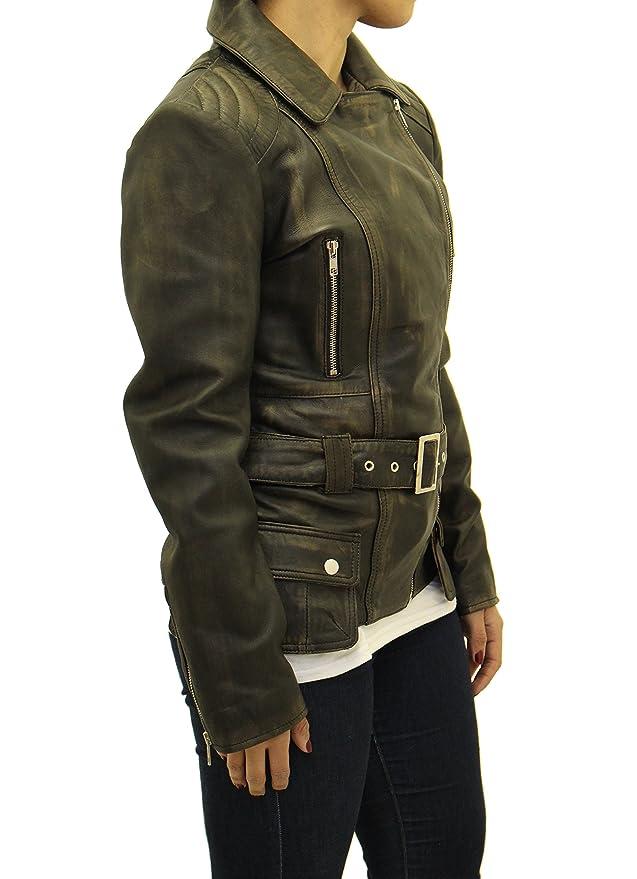 Se-oras frotar apagado/vendimia de cuero Elegante acolchados de largo ce-ido militar vendimia retro Biker abrigo: Amazon.es: Ropa y accesorios
