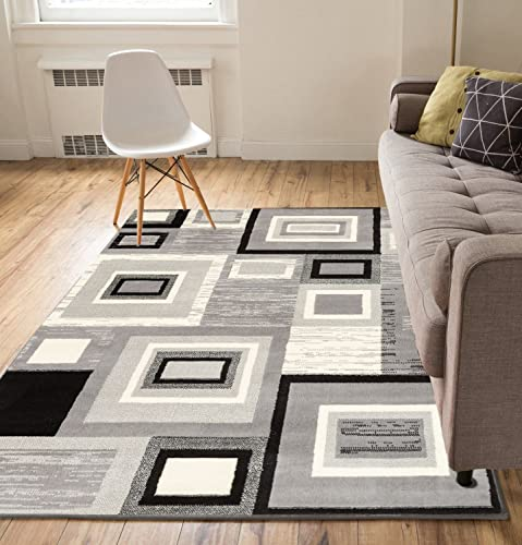 Well Woven Geometric Squares Grey 2 3 x 3 11 Doormat Accent Rug