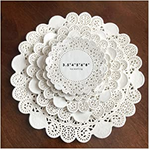 250Pcs White Greaseproof Doilies, Round Assorted Size 3.5