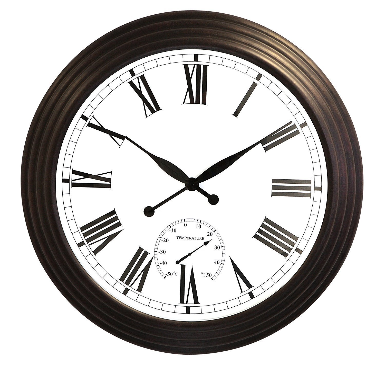 Gartenuhr Gartenuhr Gartenuhr XL mit Thermometer, Antikbraun, 69cm - About Time™ 6aea40