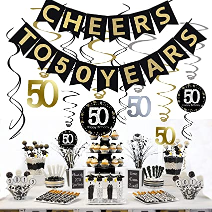 Amazon.com: Kit de decoración para fiesta de 50 cumpleaños ...