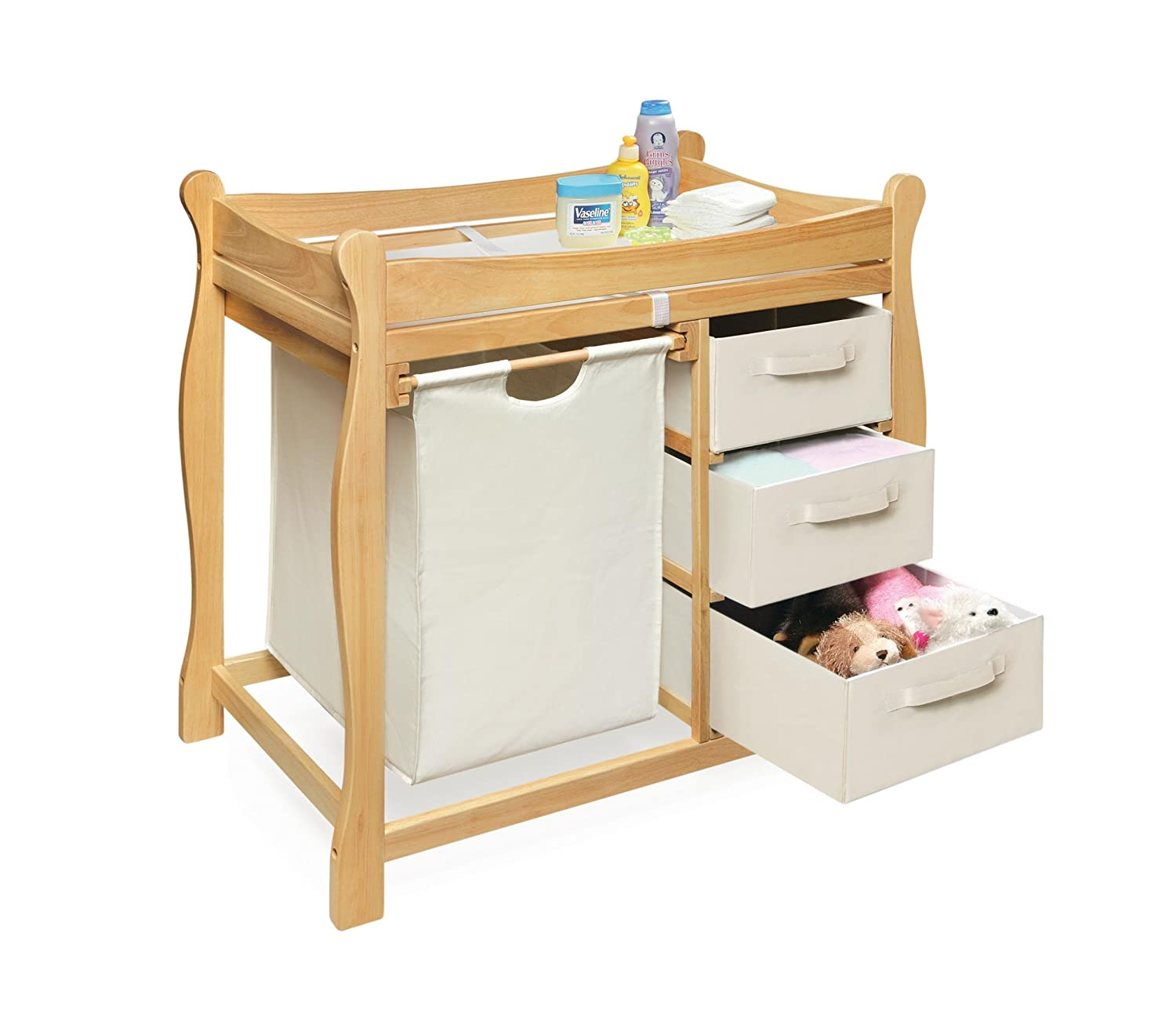 Amazon.com : Badger Basket Sleigh Style Changing Table With Hamper/3  Baskets, Natural : Baby Changing Table Natural : Baby
