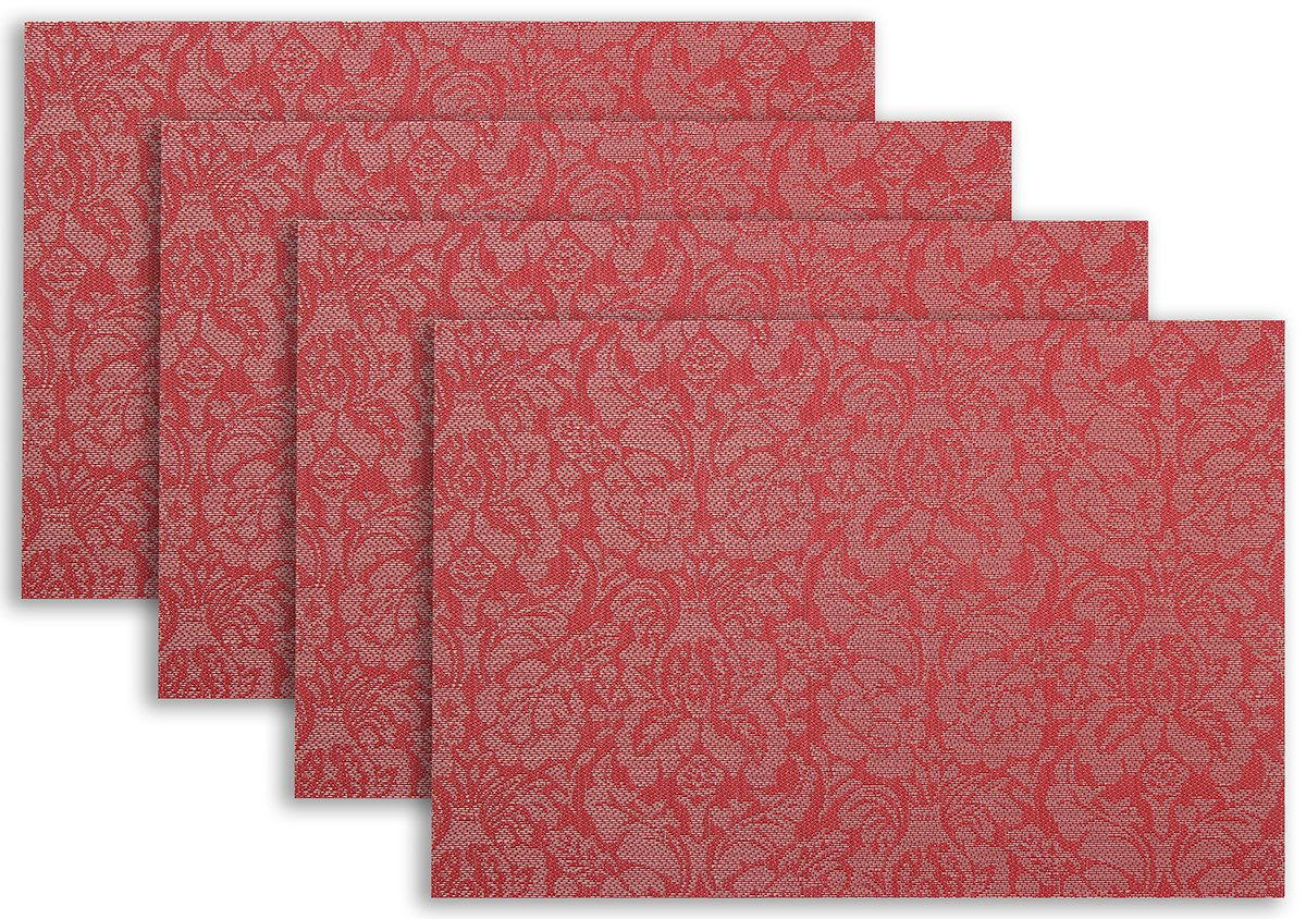 Placemat Set of 4/6 Rose Flower Style Kitchen Table Decor Woven Vinyl Table Placemats Set Home Dinner Decorative Reversible by Secret Life(6, Rose Red) - HOME UPGRADE - This woven placemat are most prefect and easy way to upgrade yours kitchen decor and kitchen set. These Decorative Reversible by Secret Life are made of high grade vinyl, each piece die cut for precise edges. EASY STORAGE - 4 or 6 pieces table mat multiply to cover a 6' table dinner or larger. Each placemat are measured approx 1 millimeters, stack them together for easy and minimal storage space, lots of vibrant colors and pattern to easily change kitchen or dining room's decorative theme. IMPRESSIVE - They are beautiful made for outdoor and indoor use thanks to its water resistant super easy to clean fast drying features, imagine a patio party with these lovely placemats on the table would impress all those guests, not to mention spill s and stains just wipe right up. - placemats, kitchen-dining-room-table-linens, kitchen-dining-room - 81oPQQykoHL -