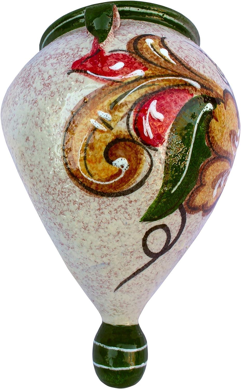 Cactus Canyon Ceramics Hand-Painted Spanish Orza Wall Flower Pot, Spanish Oro