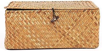 Amazon.com: Yesland Cesta de almacenamiento de mimbre tejida ...