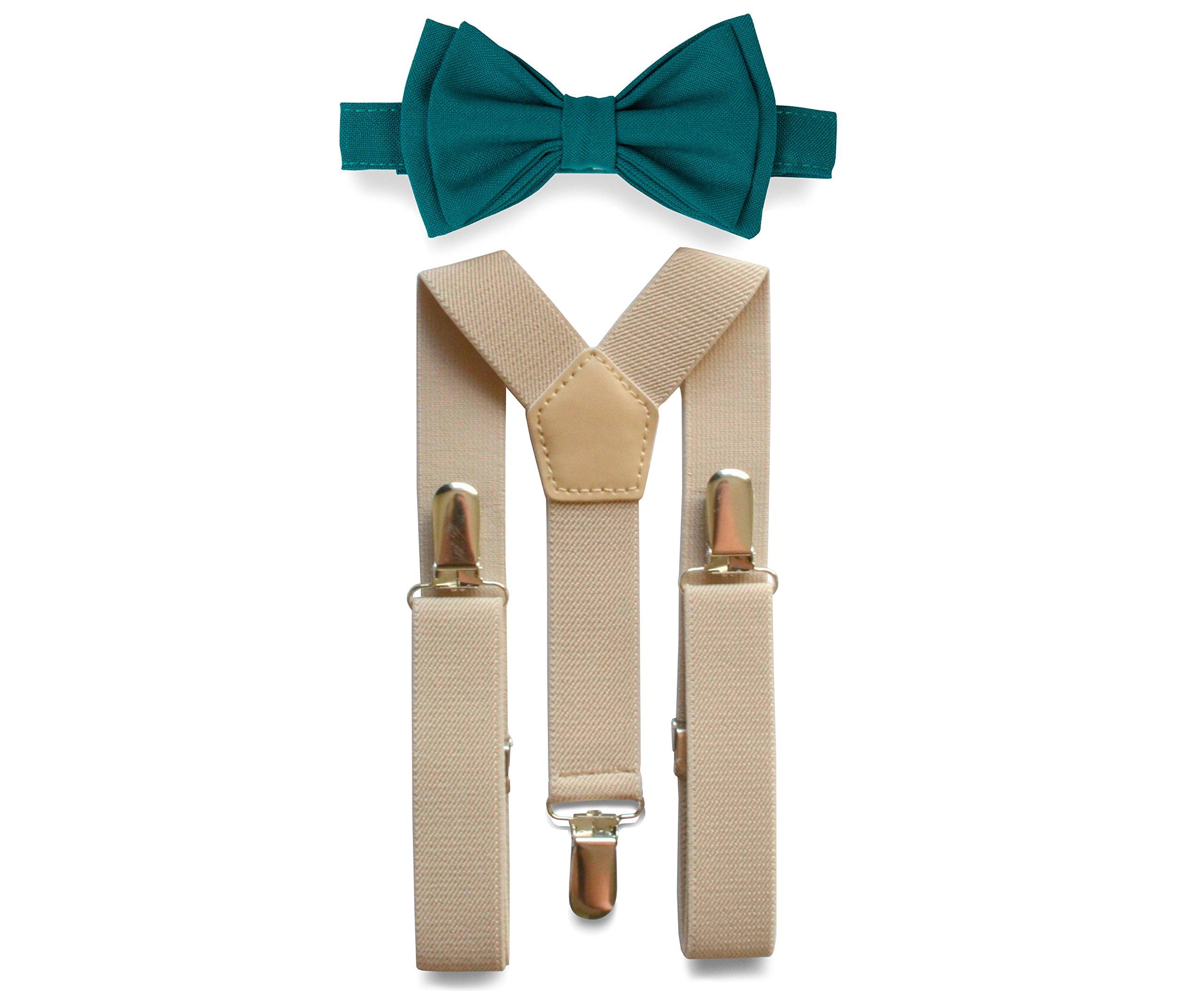 Tan Suspenders & Bow Tie Set for Baby Toddler Boy Teen Men (2. Toddler (18 mo - 6 yrs), Tan Suspenders, Teal Bow Tie)