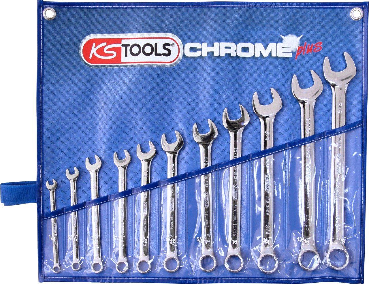 KS Tools 518.3000 Jeu de clé s mixtes en pouce CHROMEplus 11 piè ces 4042146223918