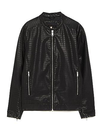 60367f97 Zara Men Embossed Faux Leather Jacket 3548/460 - Black - XX-Large ...