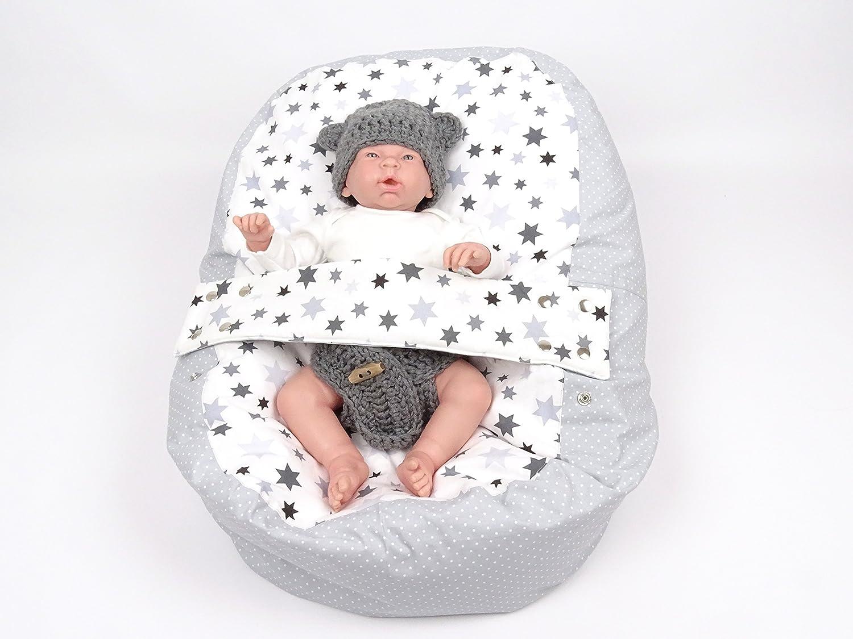 Baby Liegekissen, Lagerungskissen, Alternative zur Babywippe & Babyliege, später als Kindersitzsack einsetzbar, Motiv Sterne oder Blumen, versch. Farben (Stars)