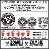 Zombie Outbreak Response Team - 17 Piece Black Vehicle Sticker / Decal kit - Car Truck New (Black)