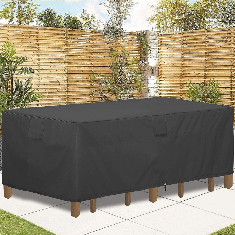 GARDRIT Patio Furniture Covers, Veranda Rectangular/Oval 100% Waterproof Patio Table Cover, 108''L x 82''W x 27.5''H Heavy Duty 600D Outdoor Furniture Set Covers, Black