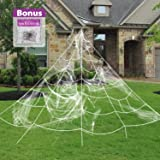 Pawliss Halloween Decorations, Giant Spider Web with Super Stretch Cobweb Set, Outdoor Yard Decor, White, 16 feet