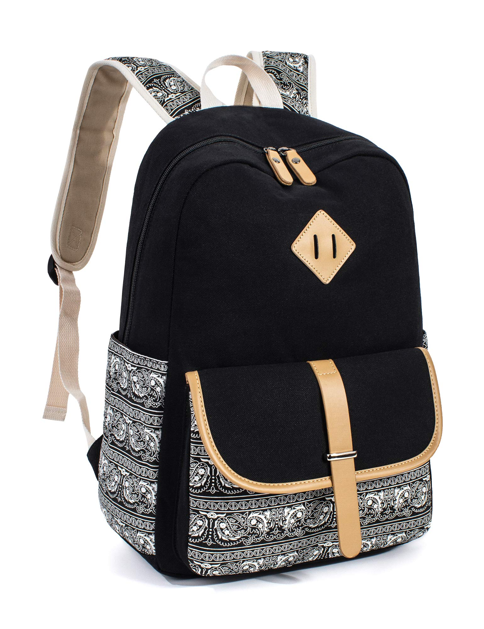 Leaper Cute Backpack Laptop Backpack School Bag Travel Daypack Black [8812]
